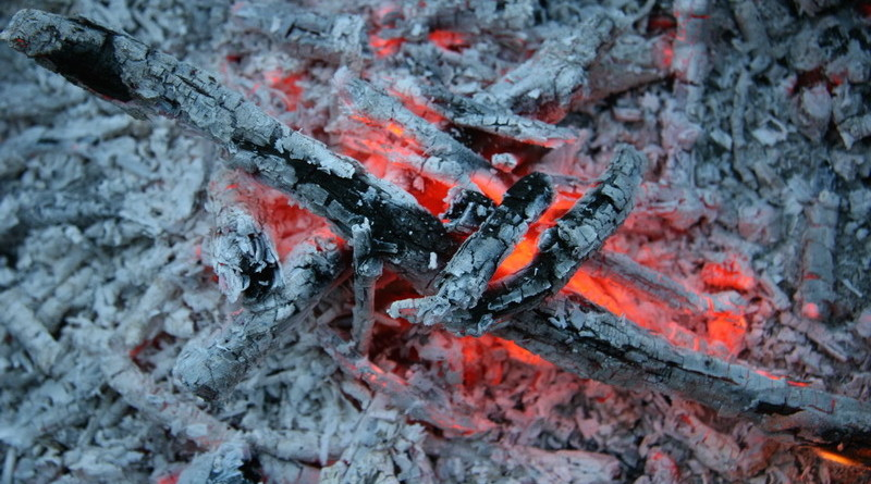 Прогоревшие дрова, угли и зола.