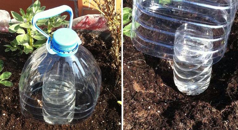 Рациональная система полива из пластиковых бутылок