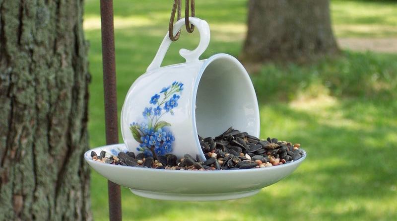Делаем из чашки кормушку для птиц