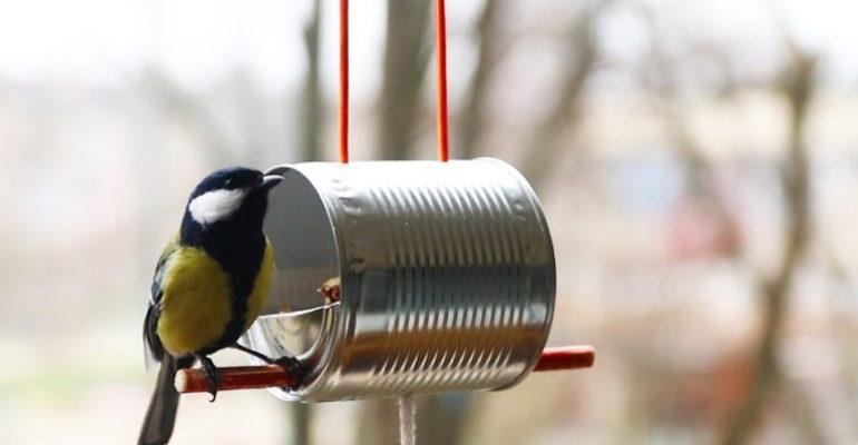 Делаем кормушку для птиц из консервной банки