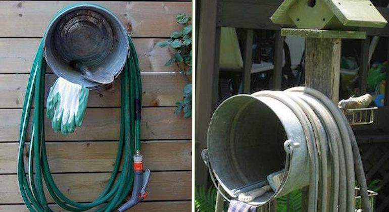Делаем держатель для садового шланга из ведра