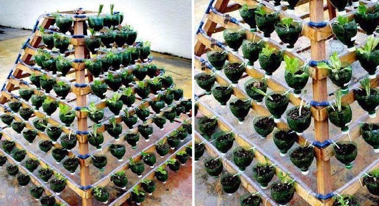 Многоуровневые грядки-пирамиды из пластиковых бутылок