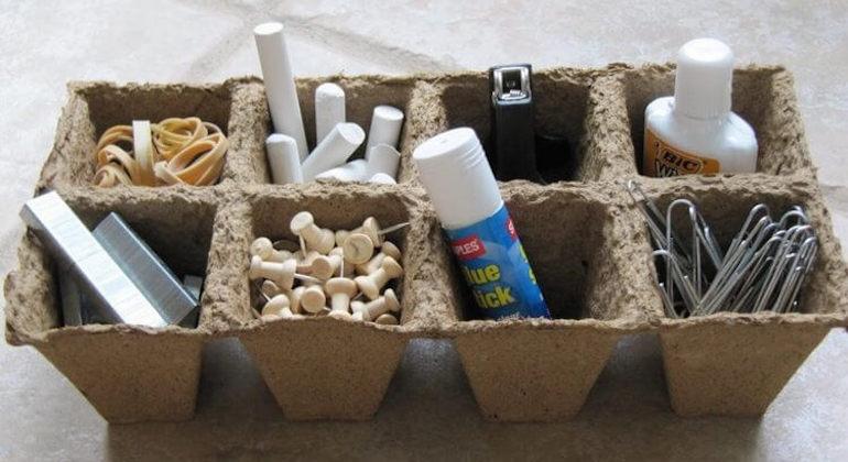 Органайзер для гвоздей и мелочи из лотков из-под яиц
