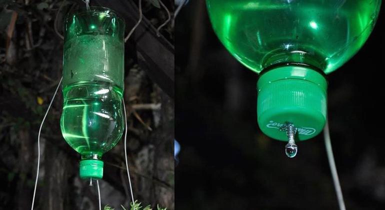 Система подвесного капельного полива из пластиковых бутылок